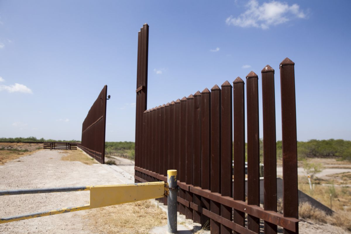A portion of the border wall between the US and Mexico.