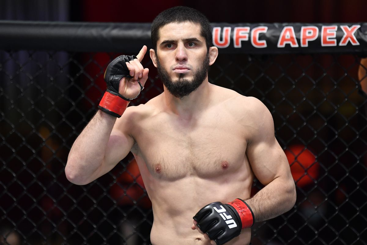 Islam Makhachev prepares to fight Drew Dober in their lightweight fight during the UFC 259 event at UFC APEX on March 06, 2021 in Las Vegas, Nevada.
