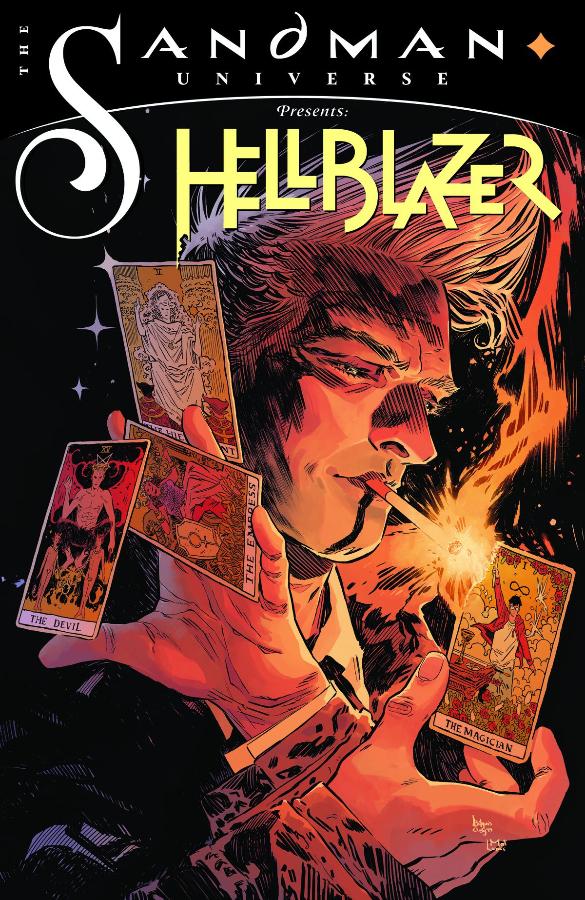 John Constantine on the cover of The Sandman Universe Presents Hellblazer #1, DC Comics (2019).