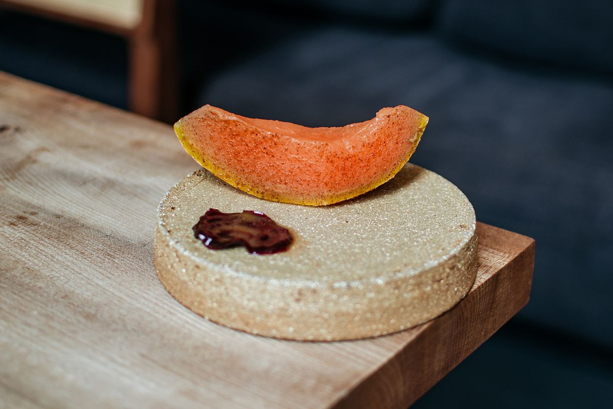 Melon and beetroot at Michelin-starred west African restaurant Ikoyi, in London