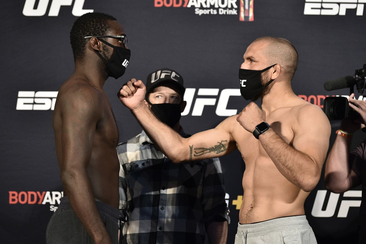 In this handout image provided by UFC, opponents Anthony Ivy and Christian Aguilera face off during the UFC Fight Night weigh-in at UFC APEX on June 12, 2020 in Las Vegas, Nevada.