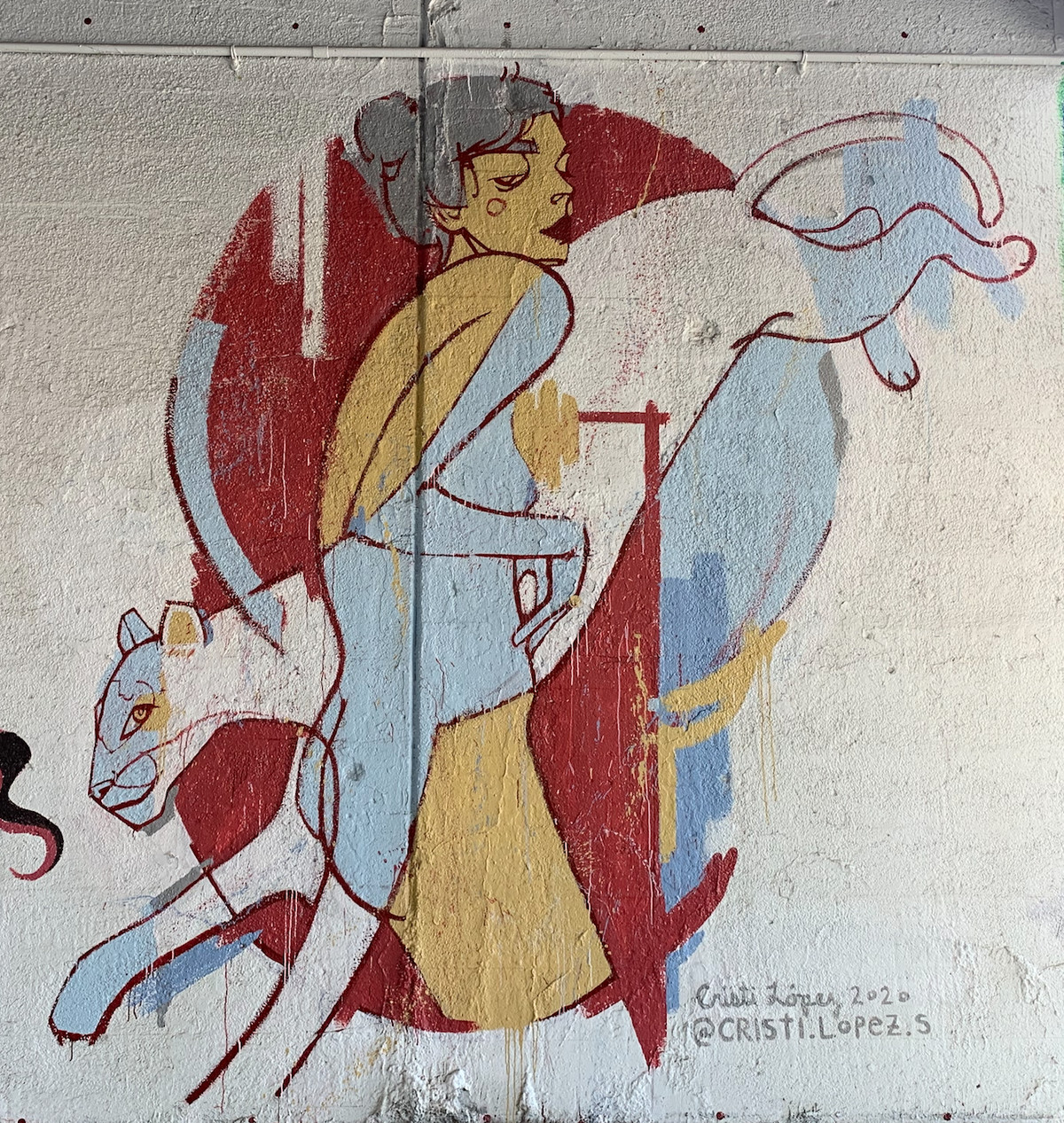 """Logan Square artist Cristi Lopez says: """"The mural is basedon my experience in overcoming anxiety. I continually exhaust myself running from an imaginary predator. If I stop in my tracks and let it run through me, I realize it can't kill me."""""""