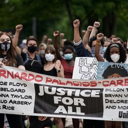 Protesters gather in Pioneer Park in Salt Lake City on Saturday, June 13, 2020. The day's demonstrations were the latest in ongoing protests against racism and police brutality that have followed the killing of George Floyd in Minneapolis.