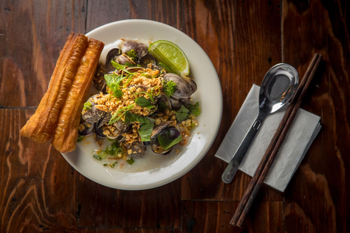 Clams and congee at Hanoi House
