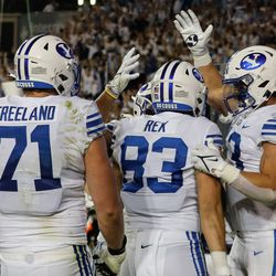 Brigham Young tight end Isaac Rex (83) celebrate the final touchdown of an NCAA college football game against Arizona State with his teammates at LaVell Edwards Stadium in Provo on Saturday, Sept. 18, 2021.