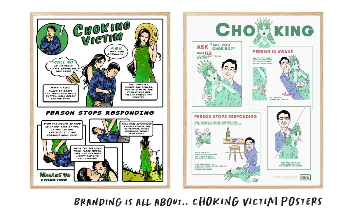 Illustrated choking posters by Overice for Madame Vo and 886.