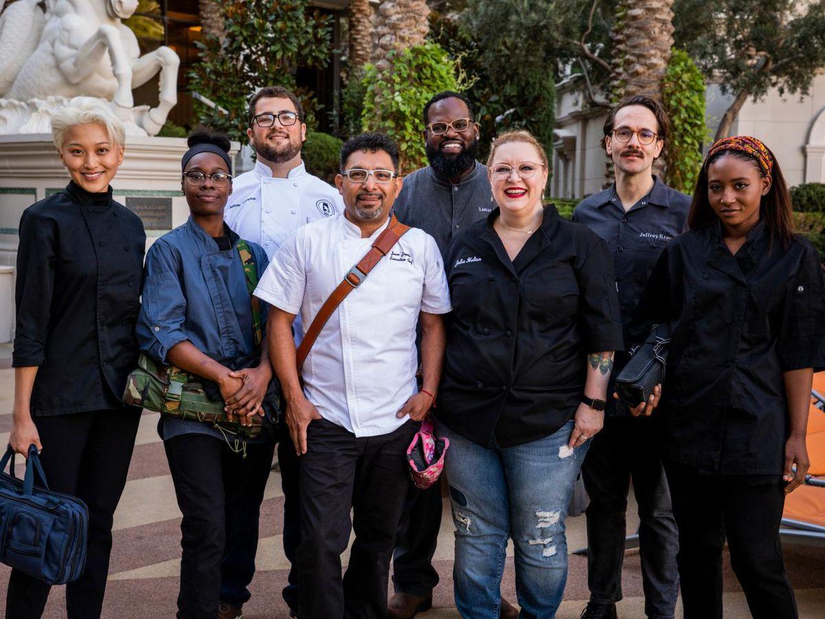 From left, Vegas Chef Prizefight competitors Janey Lyu, Roshara Sanders, Jeffrey Compton, Juan Zepeda, Lamar Moore, Julia Helton, Jeff Kraus, and Brittney Brown.
