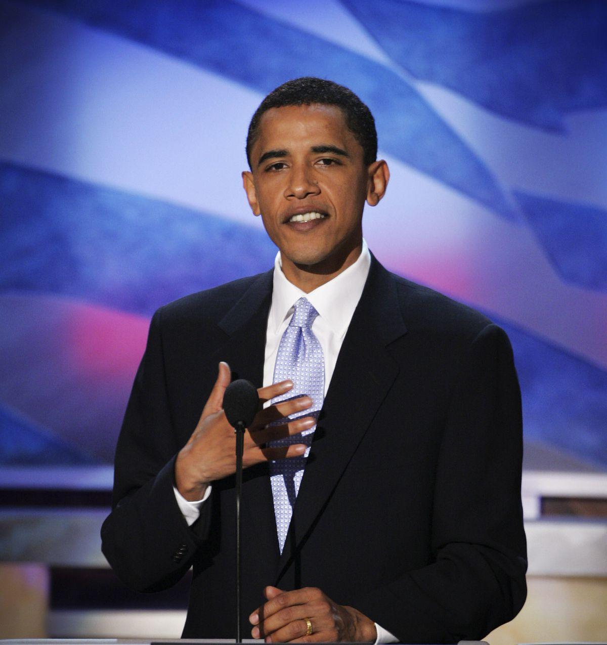 Barack Obama, Illinois senatorial candidate, addresses delegates at the Democratic National Convention in Boston.