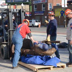 5:14 p.m. The Ernie Banks statue being prepared -