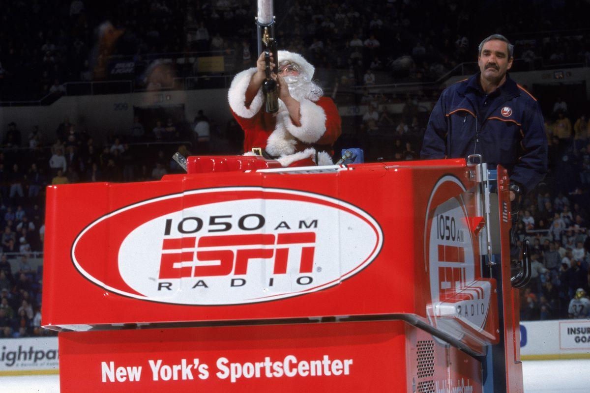 Santa Claus Rides The Zamboni During Islanders Game
