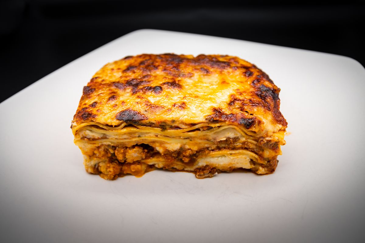 Beef lasagna with bechamel from Baker's Daughter