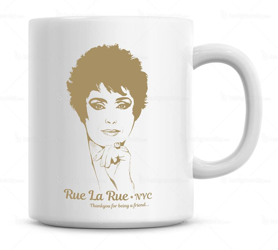 A mug with Rue McClanahan's face on it