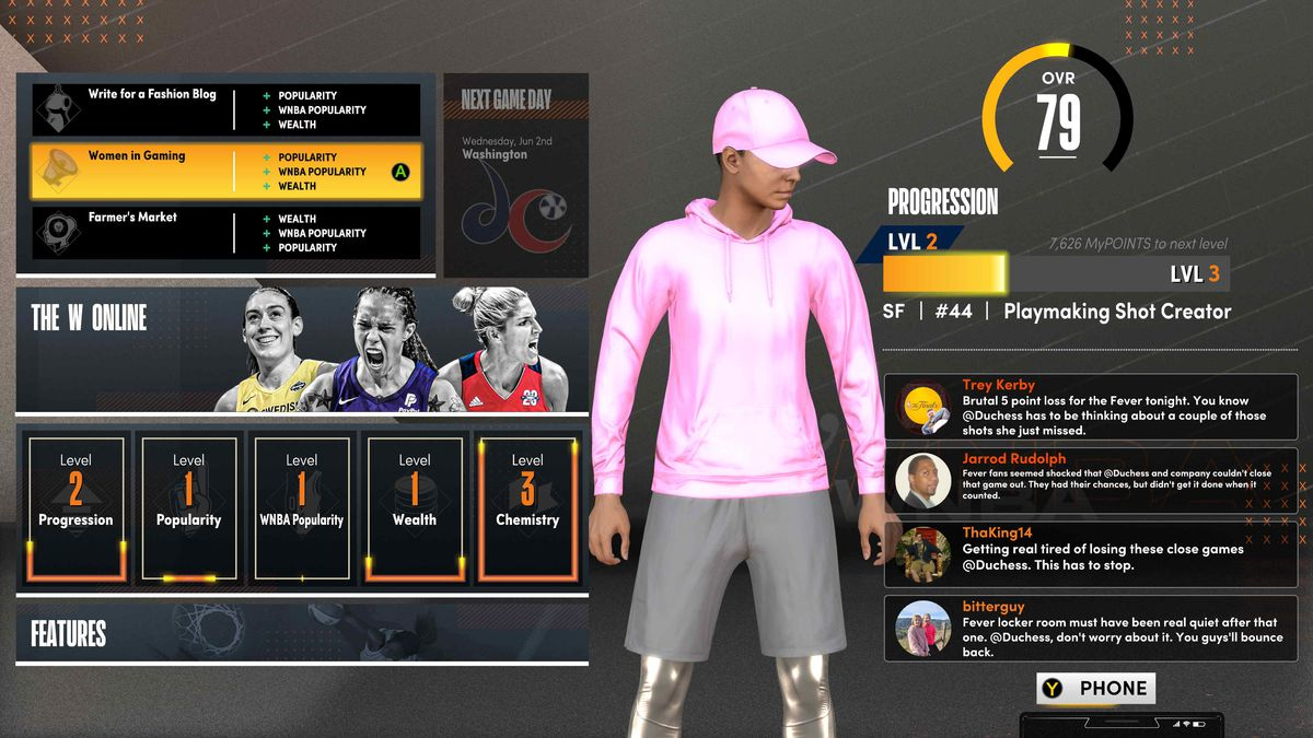 character management screen in NBA 2K21's The W