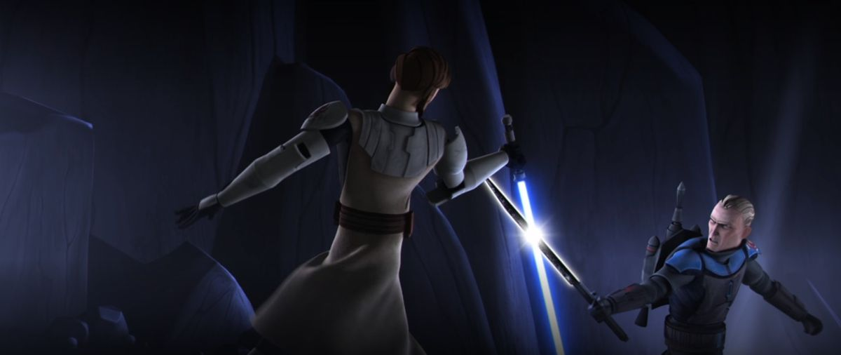 Obi-Wan has a blue lightsaber which is crossed with Pre Vizsla's Darksaber