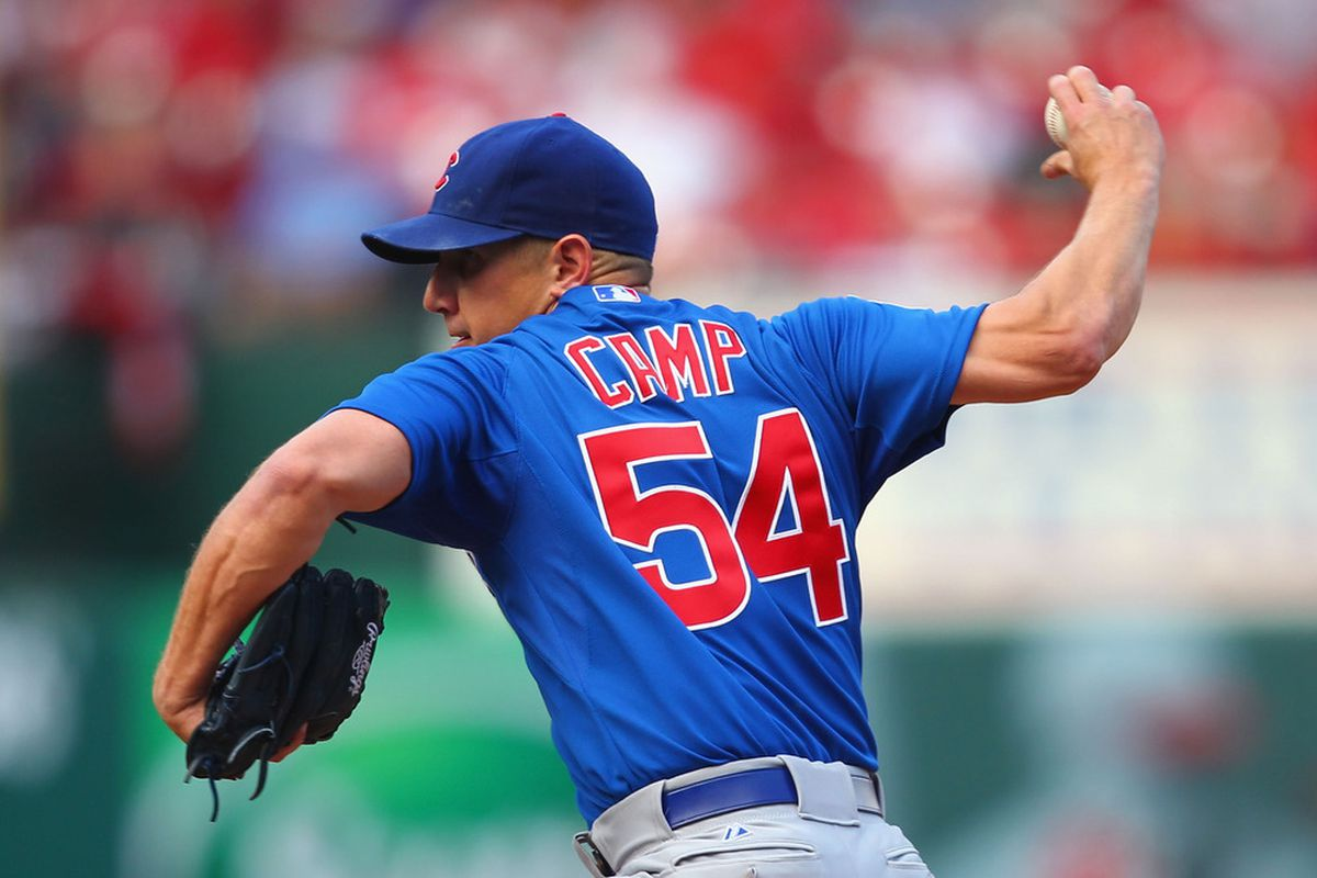 Reliever Shawn Camp of the Chicago Cubs pitches against the St. Louis Cardinals at Busch Stadium in St. Louis, Missouri.  (Photo by Dilip Vishwanat/Getty Images)