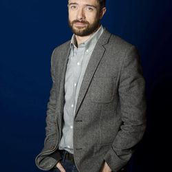 """In this April 16, 2012 photo, actor Topher Grace poses for a portrait in New York. Grace stars in the off Broadway play """"Lonely, I'm Not"""" and an independent film called """"The Giant Mechanical Man."""""""