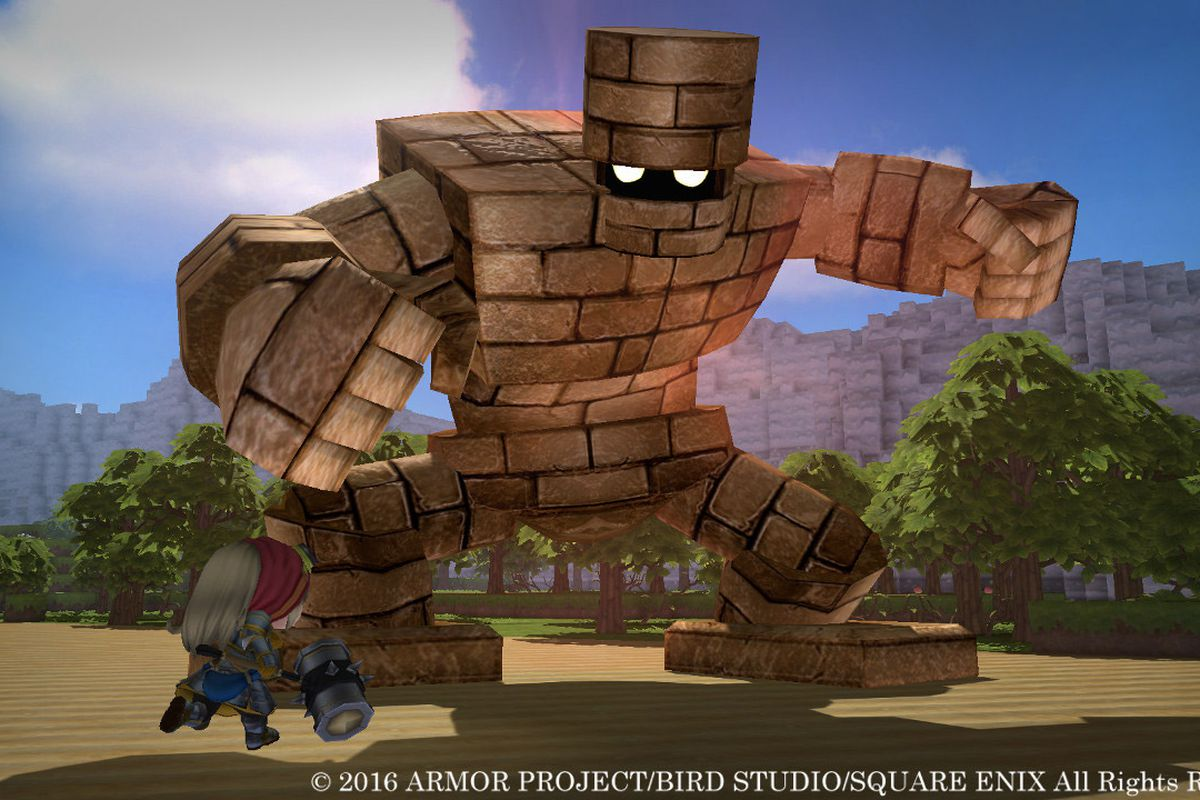 A screenshots of a golem in the original Dragon Quest Builders