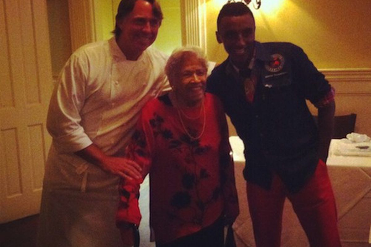 John Besh, Leah Chase and Marcus Samuelsson at Restaurant August on Friday.