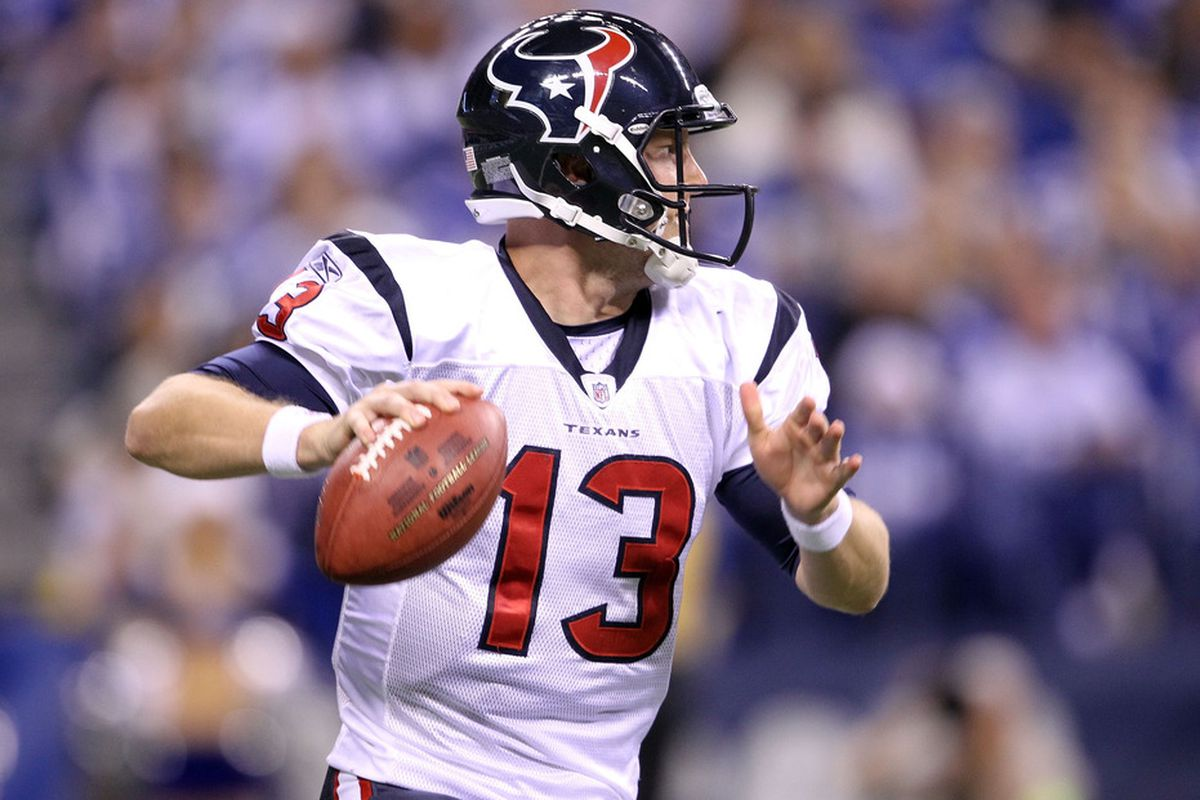 INDIANAPOLIS, IN - DECEMBER 22:  T.J. Yates #13 of the Houston Texans runs with the ball during the NFL against the Indianapolis Colts at Lucas Oil Stadium on December 22, 2011 in Indianapolis, Indiana.  (Photo by Andy Lyons/Getty Images)