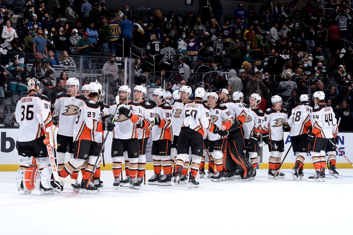 Anaheim Ducks celebrate their win during overtime against the Los Angeles Kings at STAPLES Center on October 9, 2021 in Los Angeles, California.