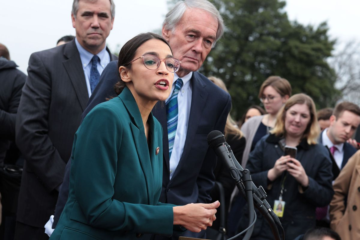 505c8ebd7b8a Markey and Ocasio-Cortez hold a news conference to unveil their Green New  Deal resolution. Alex Wong Getty Images