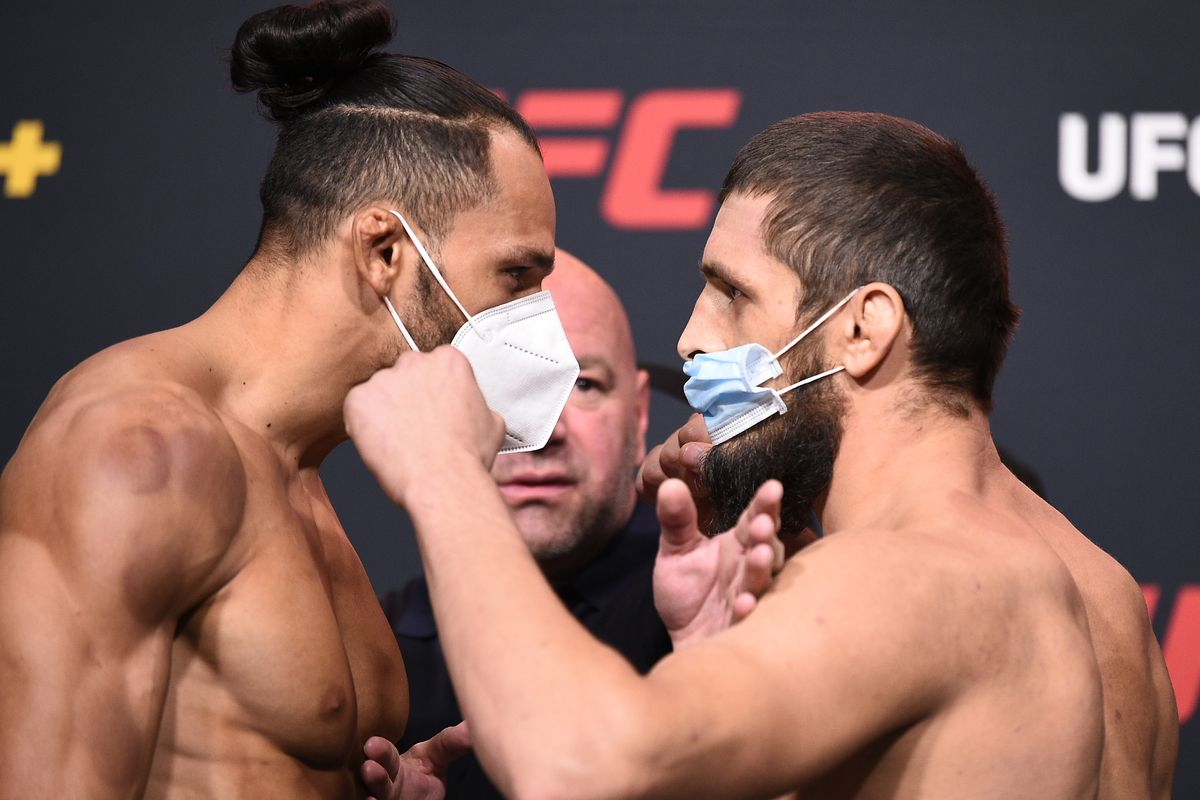 Opponents Michel Pereira of Brazil and Zelim Imadaev of Russia face off during the UFC Fight Night weigh-in at UFC APEX on September 04, 2020 in Las Vegas, Nevada.