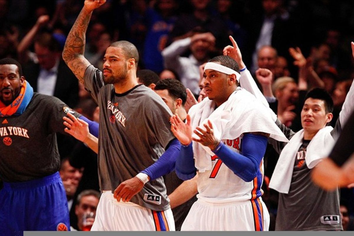Mar. 14, 2012; New York, NY, USA; New York Knicks celebrate on the bench during the first half against the Portland Trail Blazers at Madison Square Garden.  Mandatory Credit: Debby Wong-US PRESSWIRE