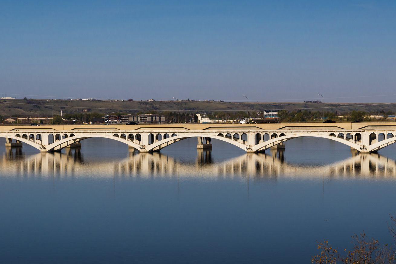 Arched Bridge over Missouri River, Great Falls, Montana, USA