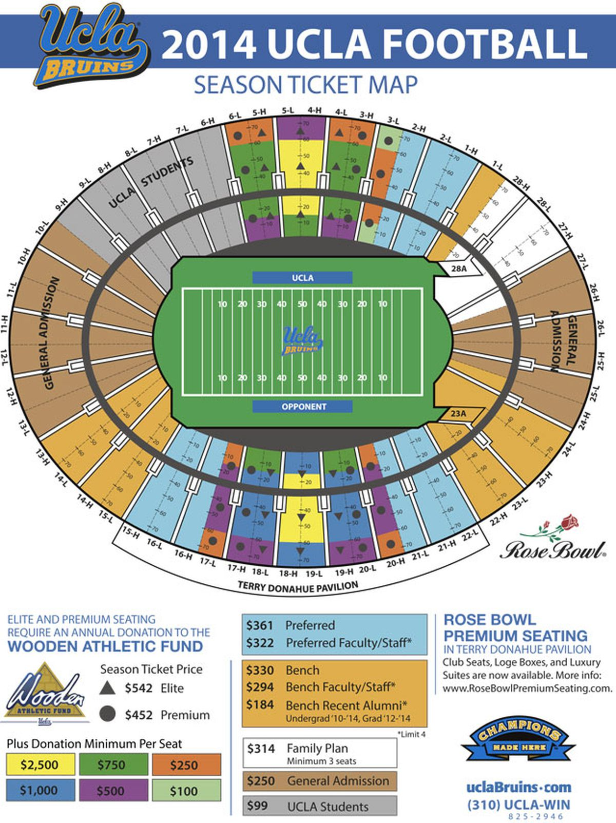 ucla announces big changes to rose bowl seating for 2016 bruins nation. Black Bedroom Furniture Sets. Home Design Ideas