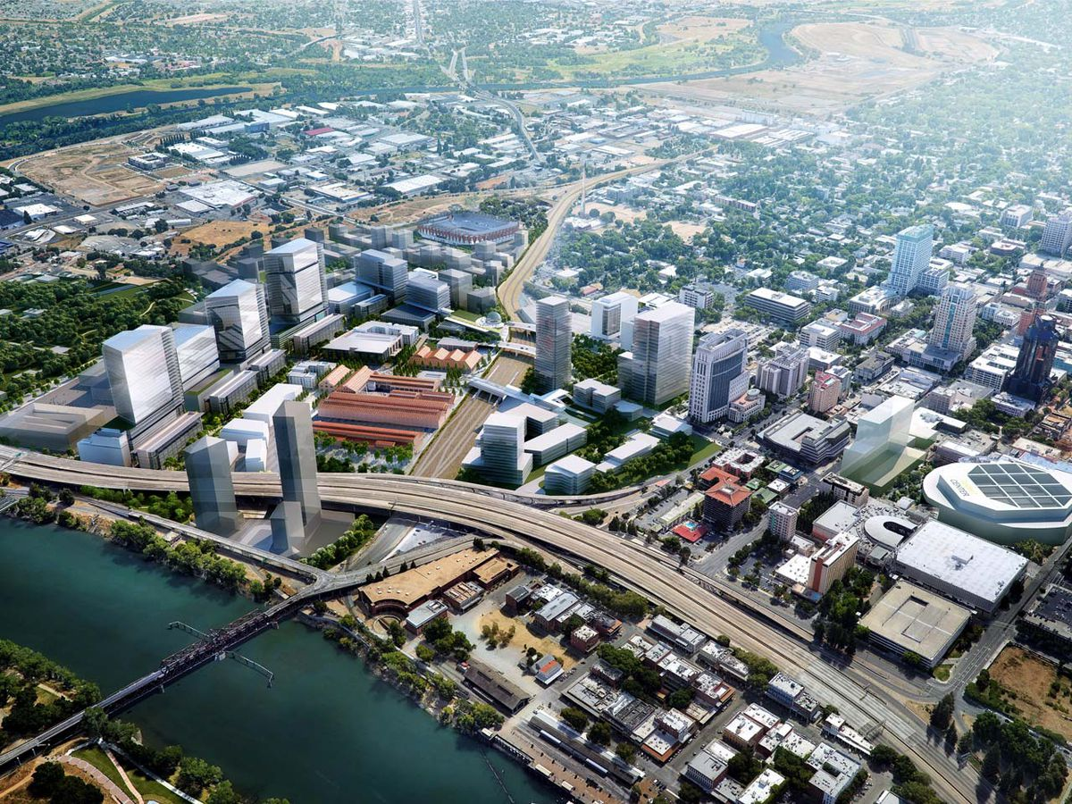 A potential future vision of Sacramento, featuring renderings of new towers, apartments, and civic spaces in the former Railyards space.