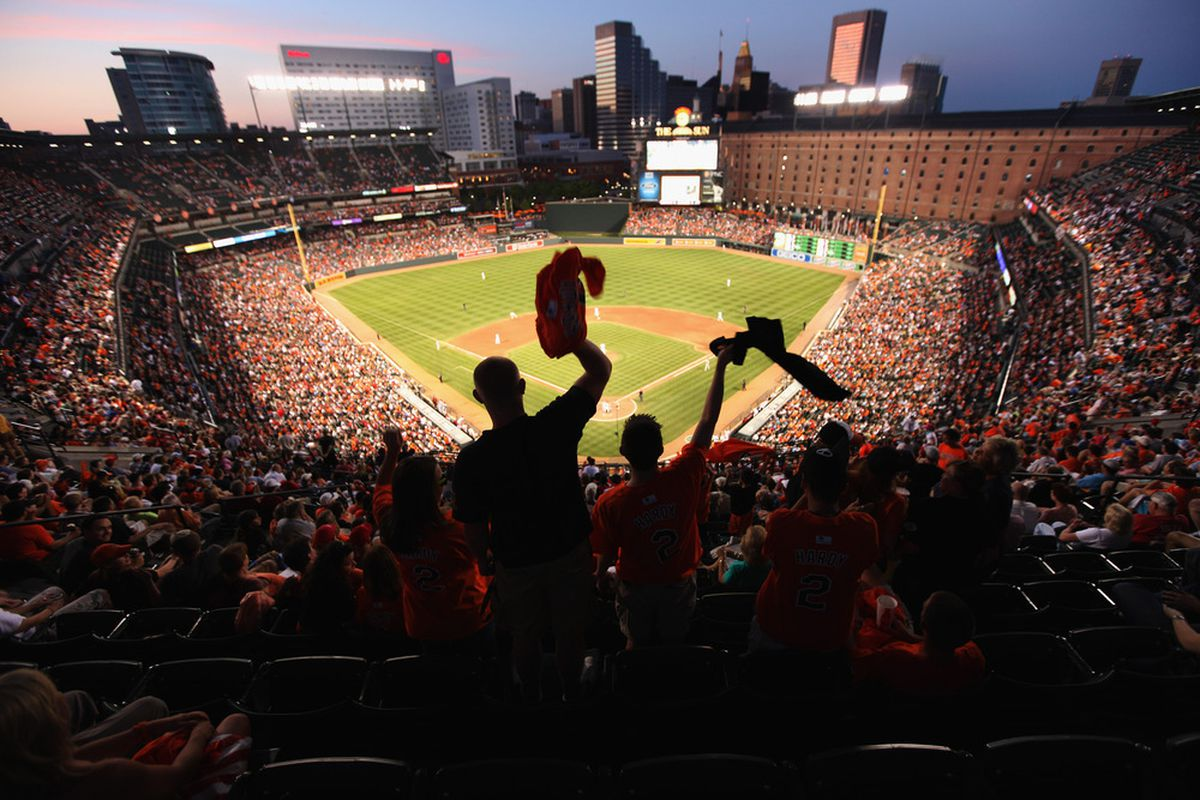 BALTIMORE, MD - JUNE 30: Fans cheer during the sixth inning between the Baltimore Orioles and St. Louis Cardinals  at Oriole Park at Camden Yards on June 30, 2011 in Baltimore, Maryland.  (Photo by Rob Carr/Getty Images)