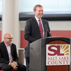Salt Lake County Mayor Ben McAdams speaks during a press conference at the Salt Palace Convention Center in Salt Lake City, as officials announce Monday, Aug. 24, 2015, that the Outdoor Retailer Summer and Winter markets have been extended through 2018.