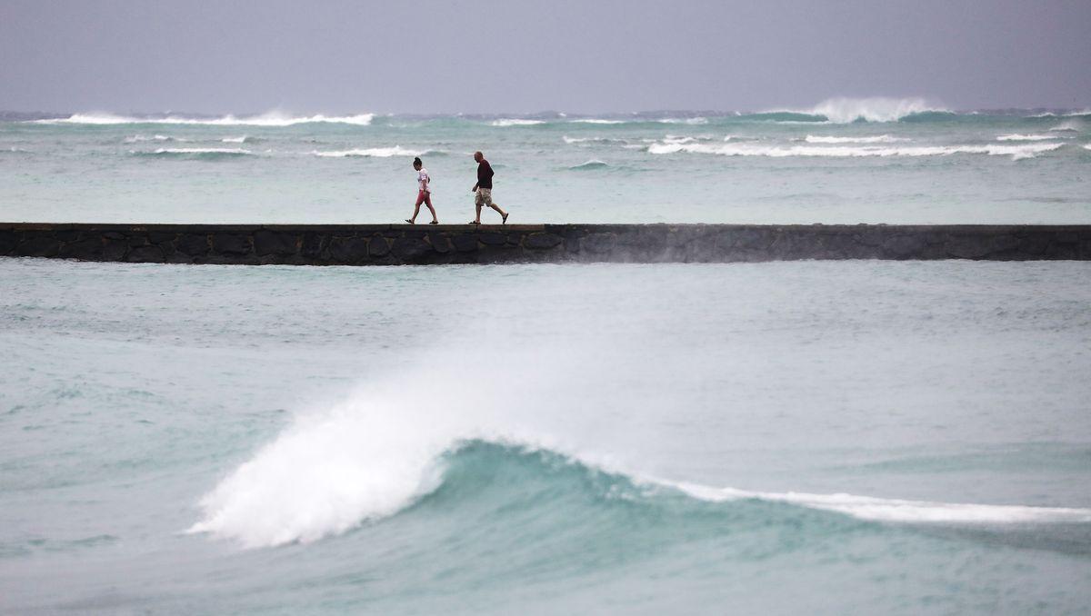 Hurricane Lane Brings Rain And High Winds To Hawaii's Oahu Island