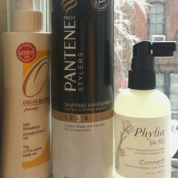 Since we're on the subject, here are the hair products I can't live without: <b>Pantene</b> hairspray, <b>Oscar Blandi</b> dry shampoo, and <b>Phylia de M</b> Connect.