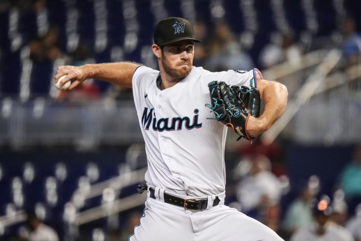 Anthony Bender #80 of the Miami Marlins delivers a pitch in the ninth inning against the New York Mets at loanDepot park