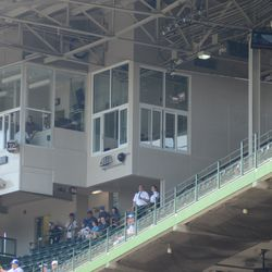 11:52 a.m. The new video board control room addition to the press box -