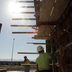 Construction workers work on the Hoopes Vision Center at 11800 S. State in Salt Lake County Wednesday, May 2, 2012. Utah jumped from 26th in 2010 to sixth in 2011 in development and construction of commercial real estate.