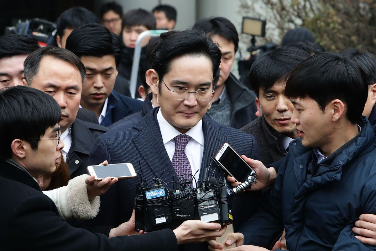 SEOUL, SOUTH KOREA - JANUARY 18: Lee Jae-Yong, vice chairman of Samsung, leaves after attending a court hearing at the Seoul Central District Court on January 18, 2017 in Seoul, South Korea. An arrest warrant for issued for Lee, Samsung's de facto leader,
