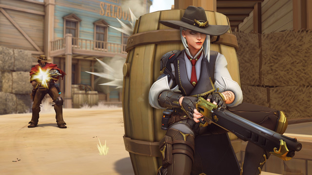 Overwatch - Ashe and McCree engage in a shoot out in a Western town