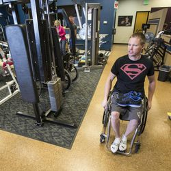 Dustin Shillcox, a paraplegic from Wyoming, talks about a study that he is part of Monday, April 21, 2014, at Neuroworx in South Jordan, where he previously received therapy.