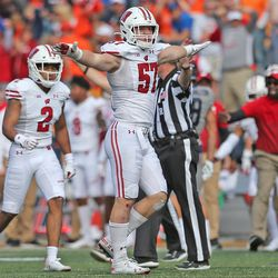 Jack Sanborn reacts to Illinois failing to convert on a 4th down attempt in the 4th quarter. It was one of several plays which seemed to solidify a UW win. Sanborn was second on the team with seven tackles.