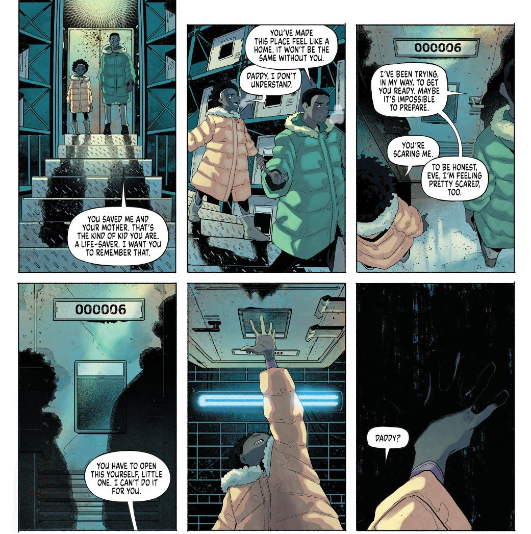"""""""You have to pen this yourself, little one. I can't do it for you,"""" Eve's father tells her as she approaches a strange door, in Eve #1, Boom Studios (2021)."""