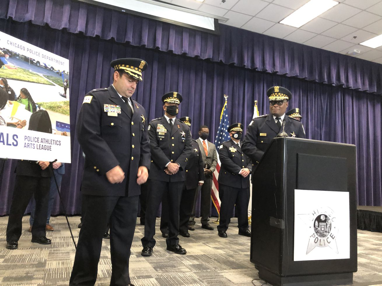 Deputy Chief Angel Novalez chokes up Friday, June 4 at a press conference after Chicago Police Superintendent David Brown made the surprise announcement Novalez would be promoted from commander. Novalez will head up CPD's revamped community policing program.