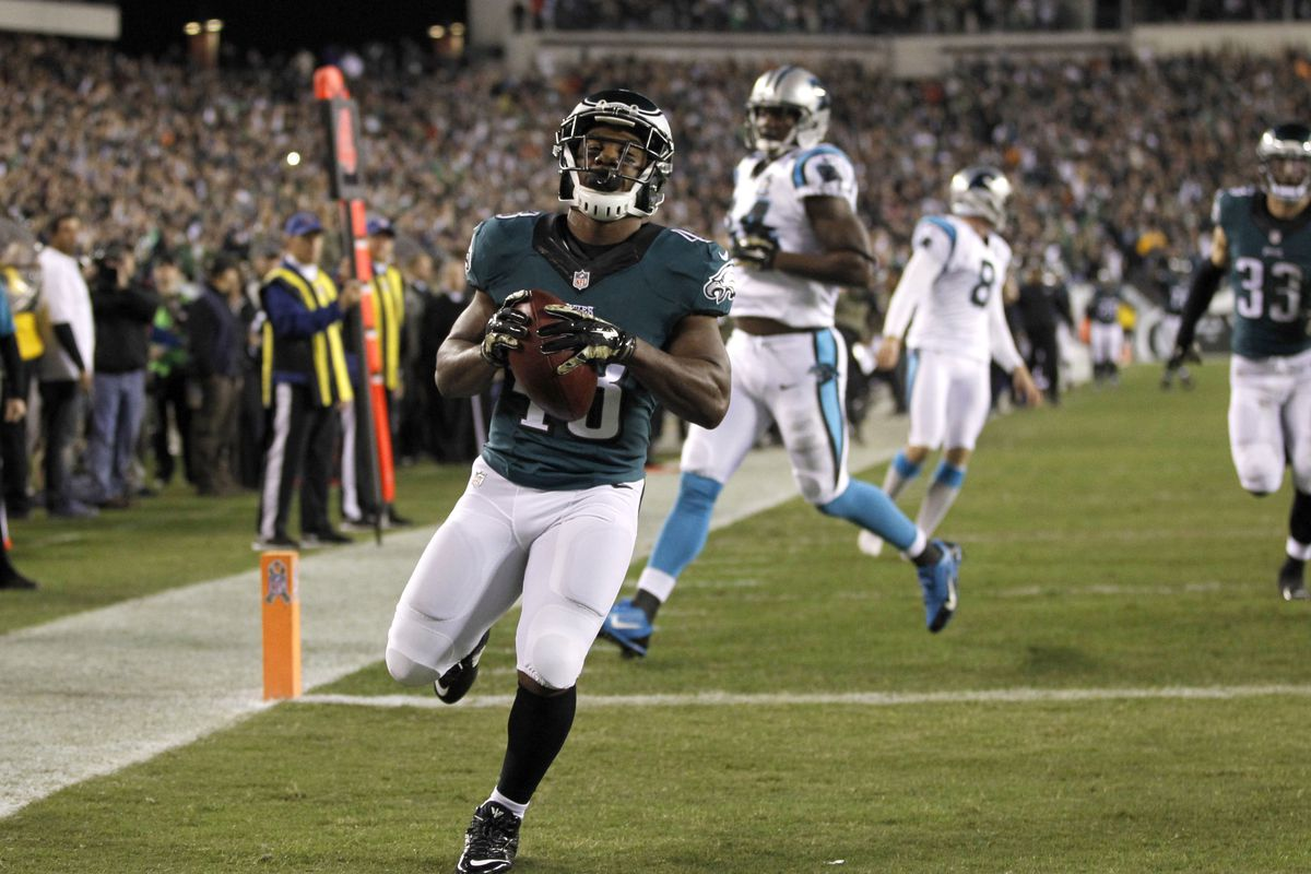Darren Sproles proved he is back to 100 percent on Monday night with this 65-yard punt return for a touchdown, as well as an 8-yard touchdown run, in a 45-21 whipping of the Carolina Panthers.