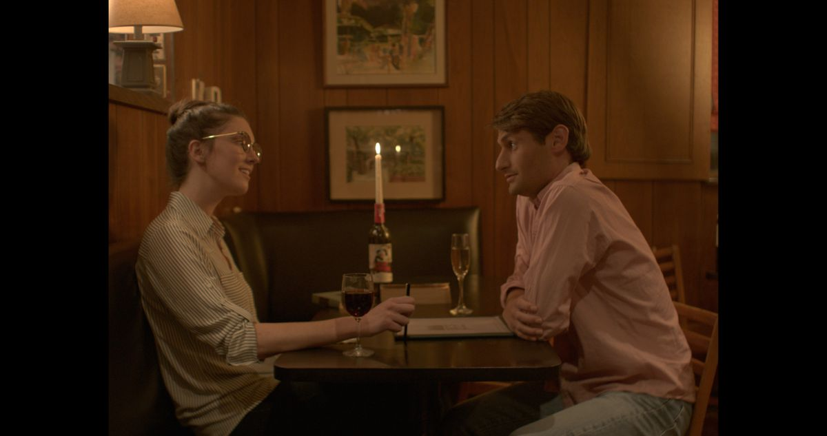 """The conversation between a grad student (Clare Cooney) and a stranger (Kevin Wehby) goes to unexpected places in """"Rendezvous in Chicago."""" 