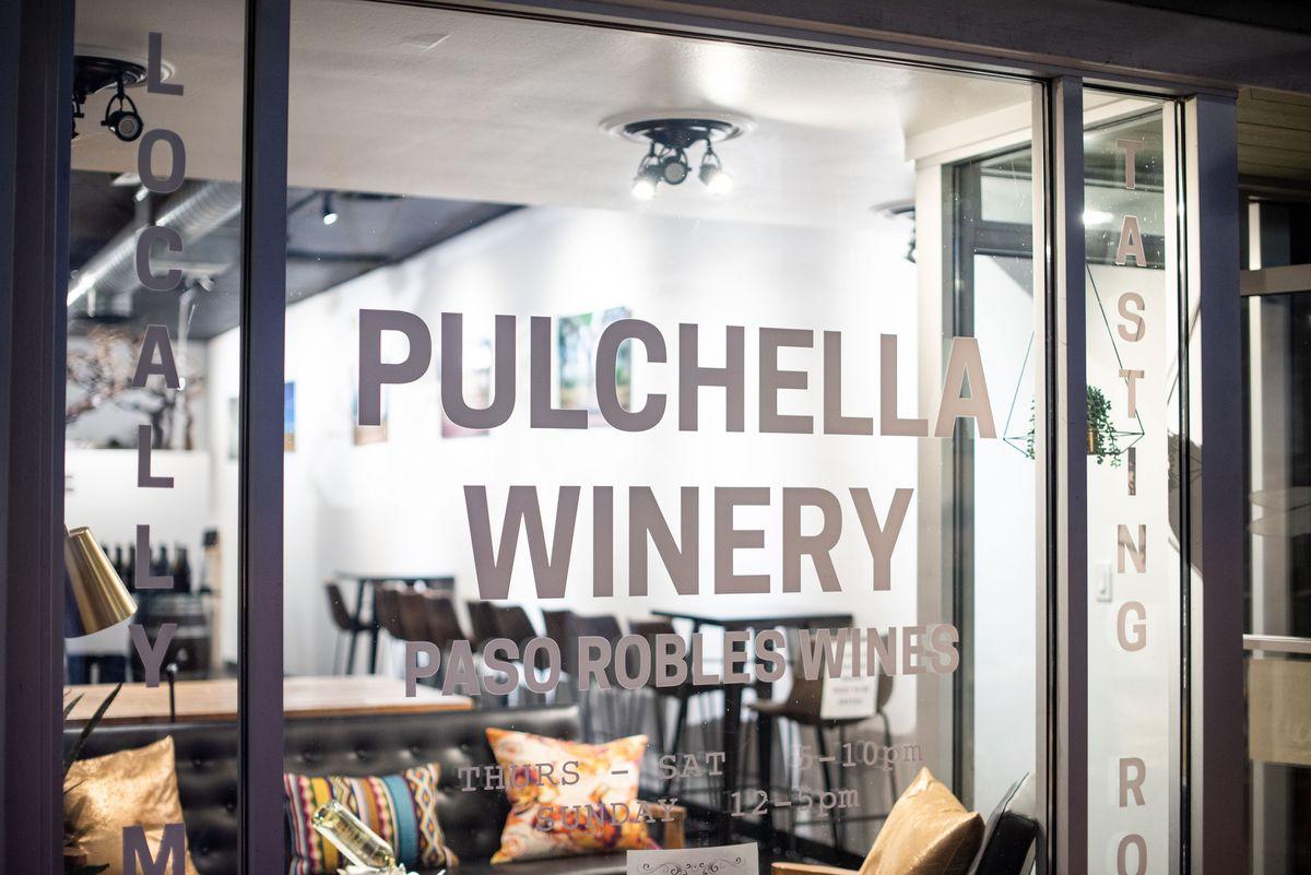 Puchella Winery sign window.