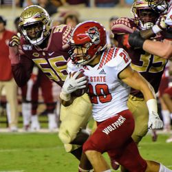 JR LB Emmett Rice tries to track down an NC State ball carrier.