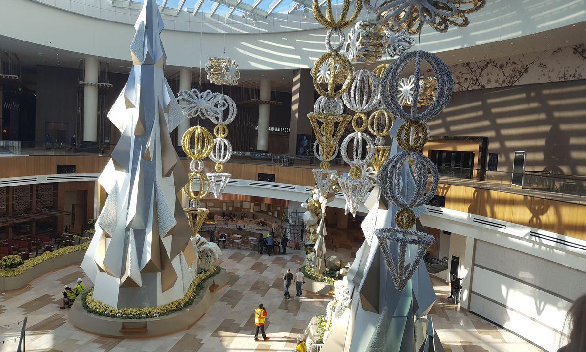 Inside MGM National Harbor's casino, atrium, and retail