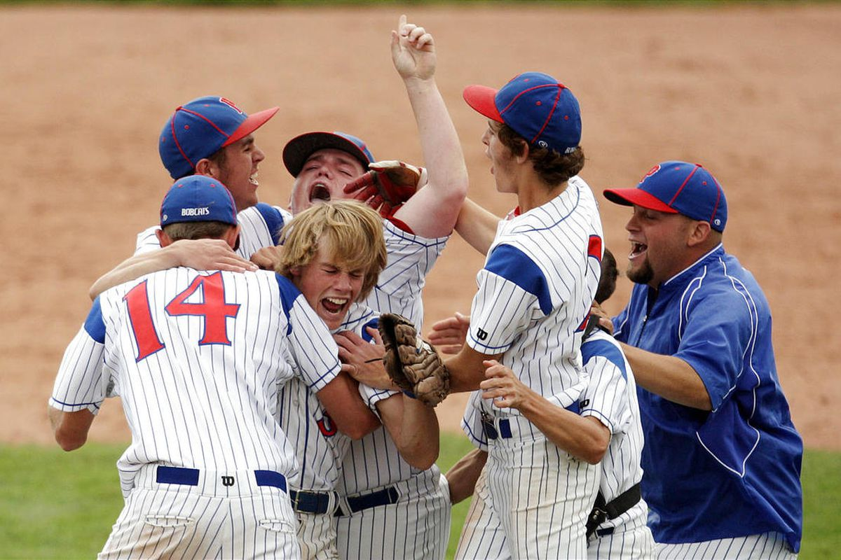 Panguitch celebrates their win over Wayne during the 1A State baseball championship game at UVU in Orem  Tuesday, Oct. 11, 2011.