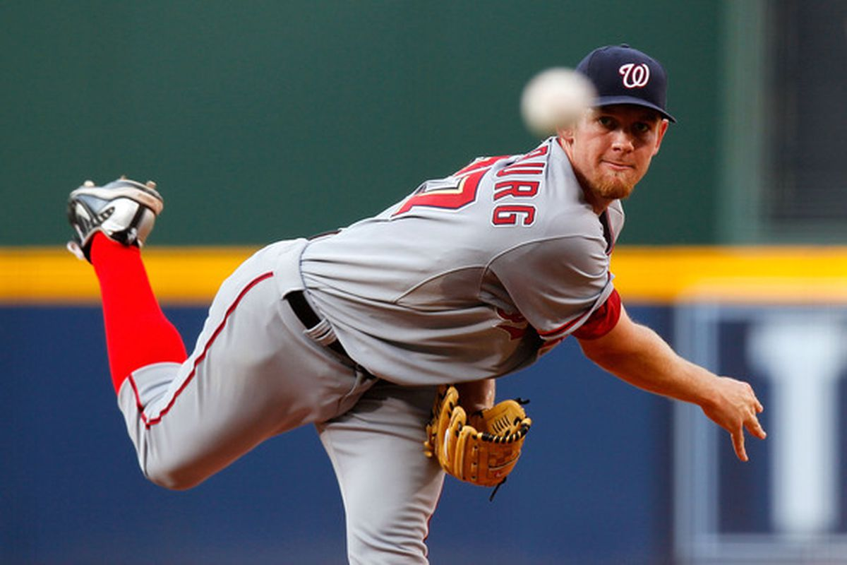 ATLANTA - JUNE 28:  Starting pitcher Stephen Strasburg #37 of the Washington Nationals pitches in the first inning against the Atlanta Braves at Turner Field on June 28, 2010 in Atlanta, Georgia.  (Photo by Kevin C. Cox/Getty Images)